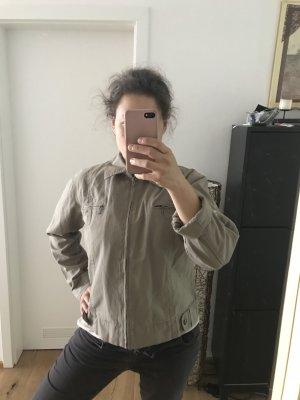 Jeansjacke Reißverschluss braun graubraun 40