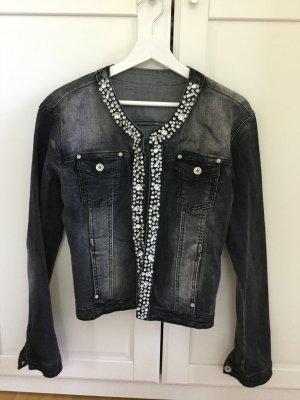 Jeansjacke schwarz mit Strass, Größe M