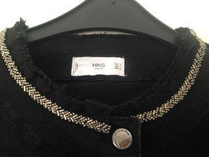 Jeansjacke schwarz von Mango mit Applikationen , Gr M, ungetragen