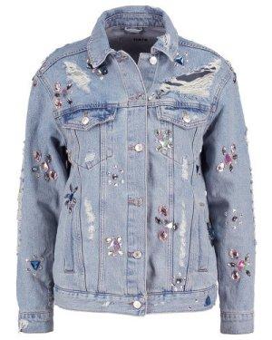 Topshop Veste en jean bleu clair