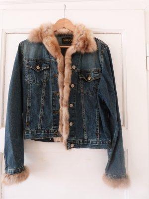Jeansjacke von Milios mit echtem Nerz eingefasst