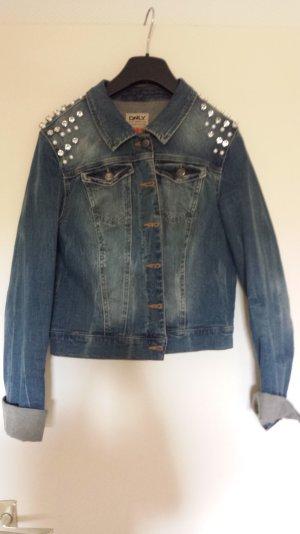 Jeansjacke von only mit Pailletten und strass