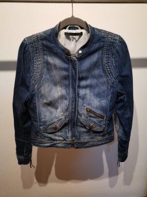 Oui Set Denim Jacket pale blue cotton