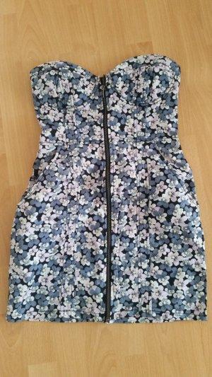 H&M Divided Off the shoulder jurk wit-blauw