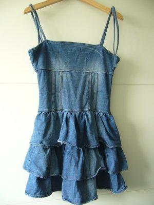 Jeanskleid Denimkleid Kleid Spaghettiträger Rüschen H&M XS 34