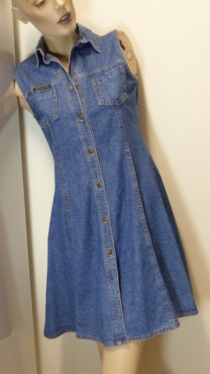 Robe en jean bleu-bleu acier coton
