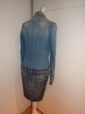 Jeanskleid Jeans Kleid PLEASE Langarm Materialmix Denim knielang Größe XS 34 sehr wenig getragen