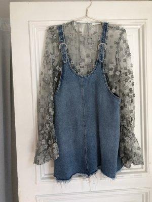 Jeanskleid latzkleid Jeans blau Mini Kleid 90er used look Silber schnallen latz Trend Vintage look