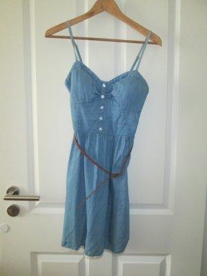 Jeanskleid mit Bustier und Rüsch