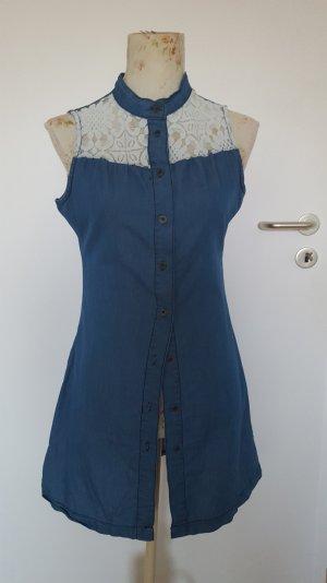 Jeanskleid mit weißer Spitze Gr. 38