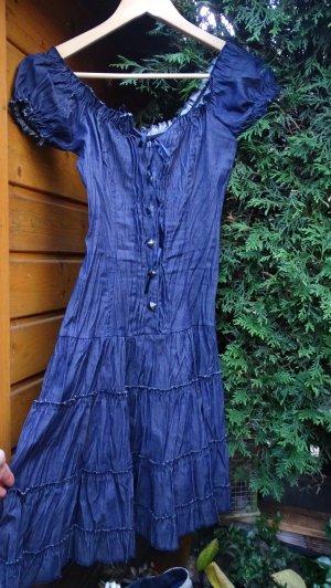 Jeansjurk donkerblauw-grijs Gemengd weefsel