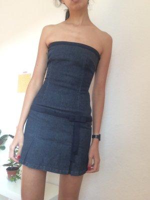 Zara Off the shoulder jurk blauw Katoen