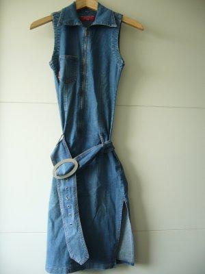 Jeanskleid Stretch figurbetont ärmellos Gürtel Reißverchluss XS 34 98% Baumwolle