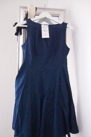 Zara Robe trapèze bleu-bleu foncé coton