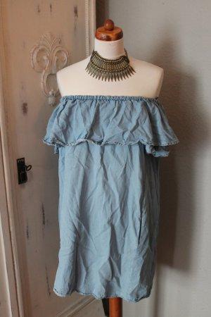 Zara Robe épaules nues bleu fluo coton