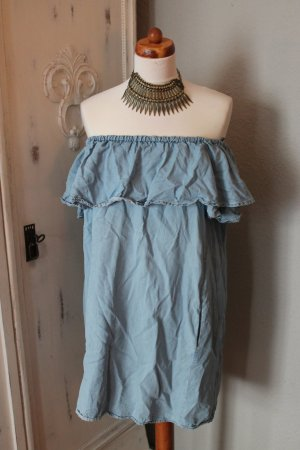 Jeanskleid ZARA Gr. L Blau Schulterfrei Kleid Dress
