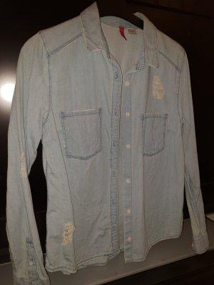 Jeanslook-Hemd mit kleinen Details