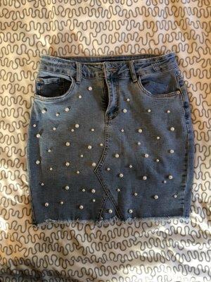 Amisu Jupe en jeans bleu azur
