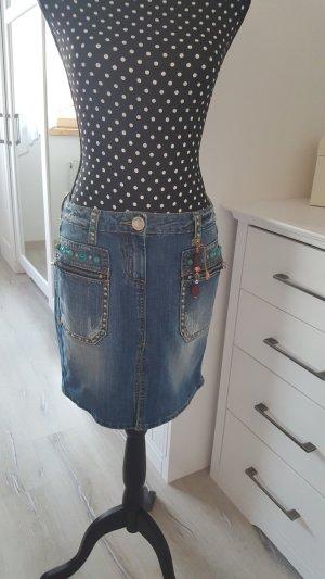 Fracomina Denim Skirt azure-steel blue cotton