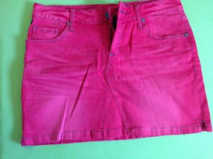 Jeansrock in Pink-Rot