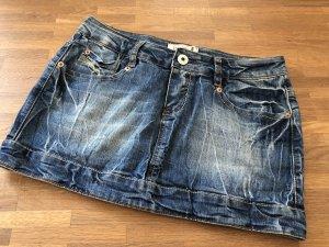 Jupe en jeans bleu-bleu fluo coton