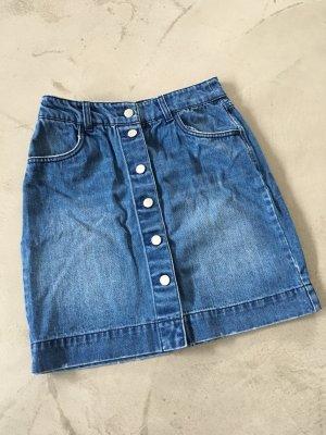 H&M Denim Skirt steel blue-cornflower blue cotton