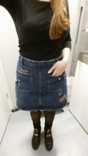 Zara Trafaluc Denim Skirt dark blue