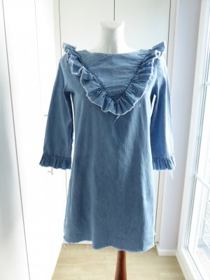 Zara Trafaluc Denim Dress azure-neon blue cotton