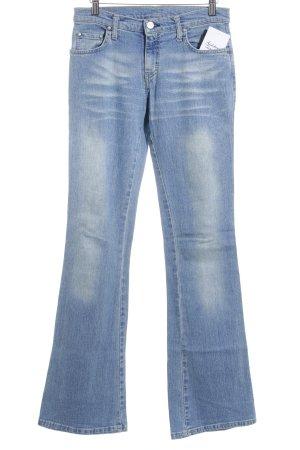 Jeansschlaghose hellblau Farbverlauf Used-Optik
