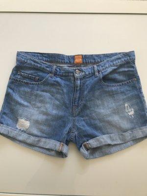 Boss Orange Pantalón corto de tela vaquera azul pálido