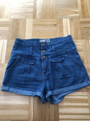 Topshop Pantalón corto de tela vaquera azul acero-azul