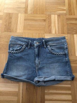 H&M Pantalón corto de tela vaquera azul acero-azul