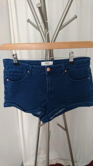 Forever 21 Pantalón corto de tela vaquera azul oscuro
