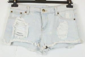 Short en jean bleu azur coton