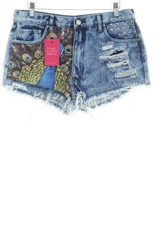 Pantaloncino di jeans azzurro Stampa a tema stile stravagante