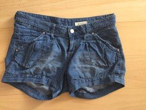 H&M Pantalón corto de tela vaquera azul oscuro-azul