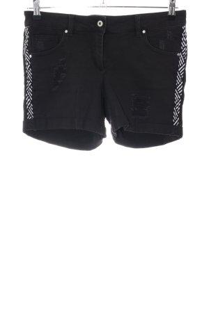 Pantaloncino di jeans nero-bianco motivo astratto stile casual