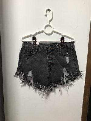 Pantaloncino di jeans nero-grigio scuro