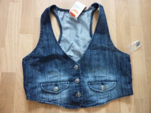 Denim Vest steel blue-dark blue cotton