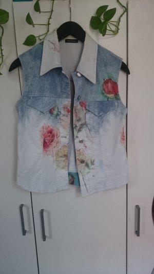 Jeansweste Blumen