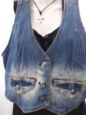 Gilet en jean bleu fluo coton