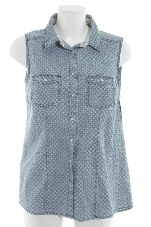Denim Vest slate-gray-light blue check pattern retro look