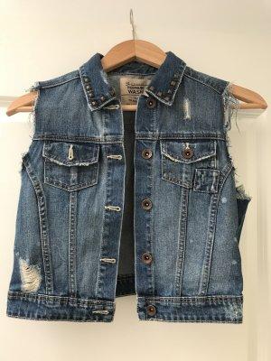 Zara Gilet en jean bleu acier coton