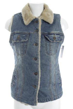 Smanicato jeans blu fiordaliso stile da moda di strada