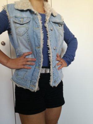Fishbone Gilet en jean blanc cassé-bleuet