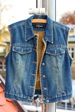 Jeansweste mit kuscheligem Innenfutter