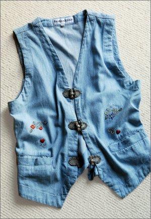 Jeansweste orig.70er Weste Denim 36/S true Vintage Retro Tofana Dirndl Wiesn