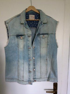 Zara Gilet en jean bleu azur