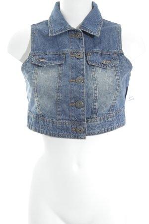 Jeansweste stahlblau Biker-Look