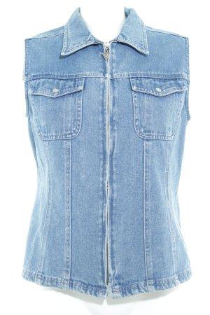 Gilet en jean bleu acier Aspect de jeans